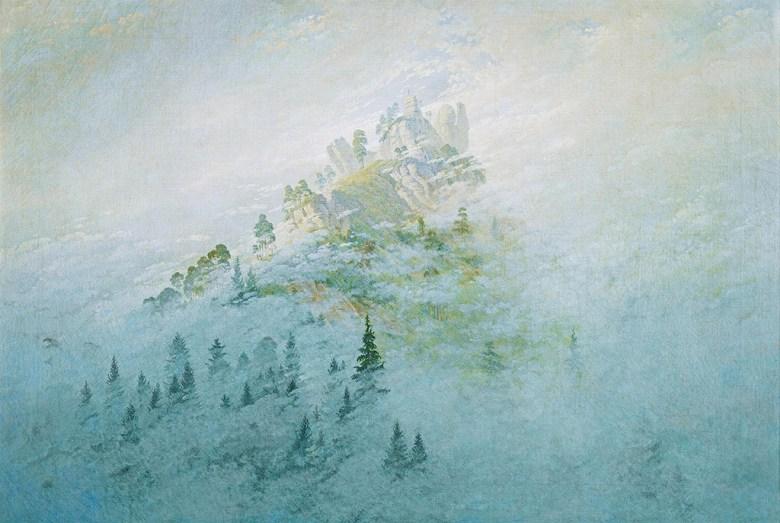 油絵 油彩画 絵画 複製画 カスパー・ダーヴィト・フリードリヒ 山の朝の霧 M10サイズ M10号 530x333mm すぐに飾れる豪華額縁付きキャンバス