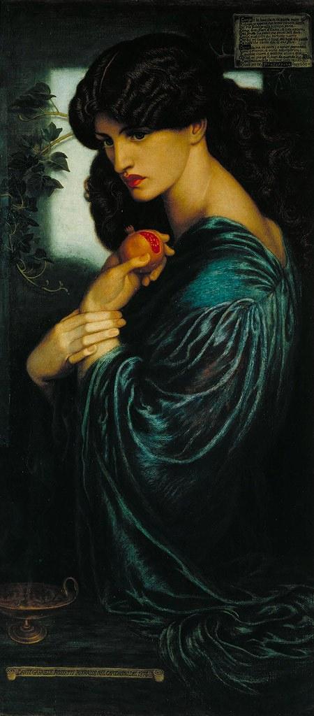 油絵 油彩画 絵画 複製画 ダンテ・ゲイブリエル・ロセッティ プロセルピナ F10サイズ F10号 530x455mm すぐに飾れる豪華額縁付きキャンバス
