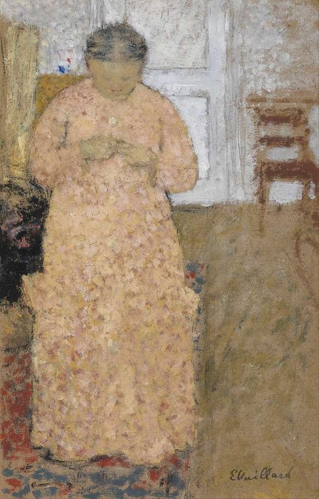 【送料無料】絵画 油彩画複製油絵複製画/エドゥアール・ヴュイヤール ピンク色のドレスで編み物をする女 M8サイズ M8号 455x273mm すぐに飾れる豪華額縁付きキャンバス