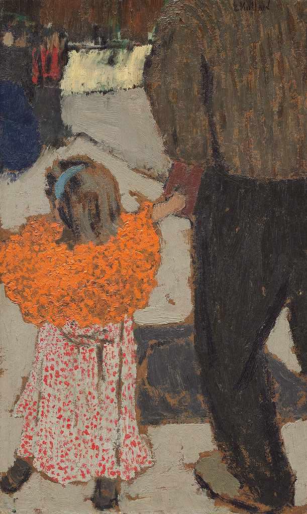 絵画 インテリア 額入り 壁掛け複製油絵エドゥアール・ヴュイヤール 赤いスカーフを着た少女 F15サイズ F15号 652x530mm 油彩画 複製画 選べる額縁 選べるサイズ