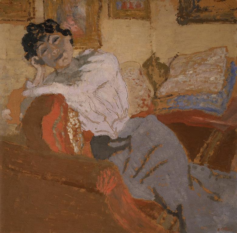 油絵 油彩画 絵画 複製画 エドゥアール・ヴュイヤール ソファーの上のヘッセル夫人 F10サイズ F10号 530x455mm すぐに飾れる豪華額縁付きキャンバス