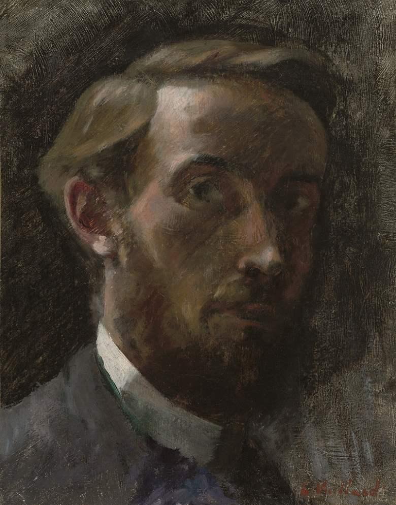 油絵 油彩画 絵画 複製画 エドゥアール・ヴュイヤール 21歳の自画像 F10サイズ F10号 530x455mm すぐに飾れる豪華額縁付きキャンバス
