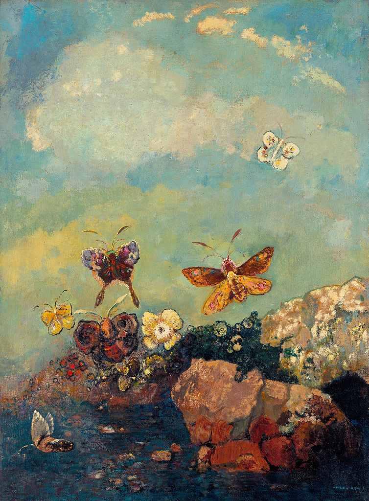 油絵 油彩画 絵画 複製画 オディロン・ルドン 蝶 P10サイズ P10号 530x410mm すぐに飾れる豪華額縁付きキャンバス