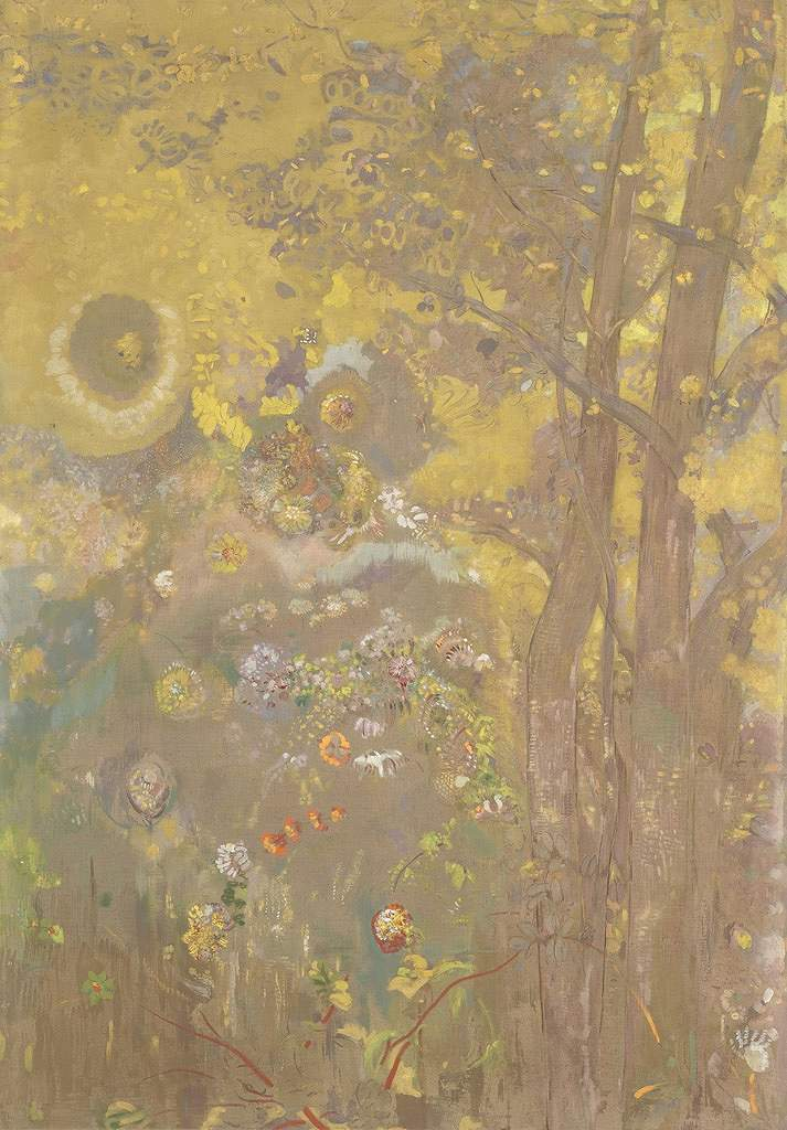 油絵 油彩画 絵画 複製画 オディロン・ルドン 黄色い背景の木々 P10サイズ P10号 530x410mm すぐに飾れる豪華額縁付きキャンバス