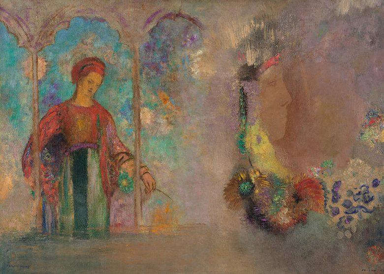 絵画 インテリア 額入り 壁掛け複製油絵オディロン・ルドン 女性と花 P20サイズ P20号 727x530mm 絵画 インテリア 額入り 壁掛け 油絵