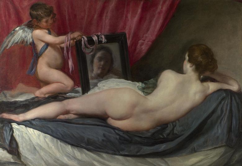 【送料無料】絵画 油彩画複製油絵複製画/ディエゴ・ベラスケス 鏡の前のヴィーナス P8サイズ P8号 455x333mm すぐに飾れる豪華額縁付きキャンバス