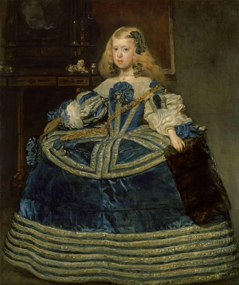 油絵 油彩画 絵画 複製画 ディエゴ・ベラスケス 青いドレスのマルガリータ王女 F10サイズ F10号 530x455mm すぐに飾れる豪華額縁付きキャンバス