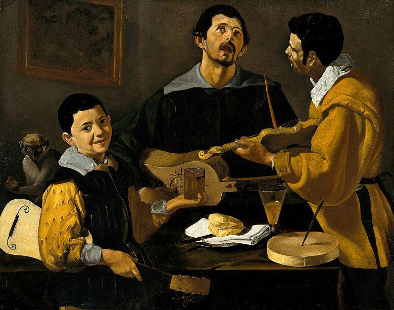 【送料無料】絵画 油彩画複製油絵複製画/ディエゴ・ベラスケス 三人の音楽家 F8サイズ F8号 455x380mm すぐに飾れる豪華額縁付きキャンバス
