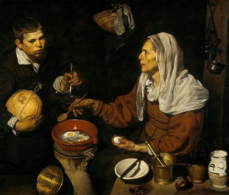 ディエゴ・ベラスケス 卵を調理する老女 F30サイズ F30号 910x727mm 絵画 インテリア 額入り 壁掛け複製油絵ディエゴ・ベラスケス