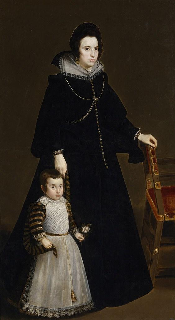 油絵 油彩画 絵画 複製画 ディエゴ・ベラスケス ドーニャ・アントニア・デ・イペニャリエータと息子 F10サイズ F10号 530x455mm すぐに飾れる豪華額縁付きキャンバス