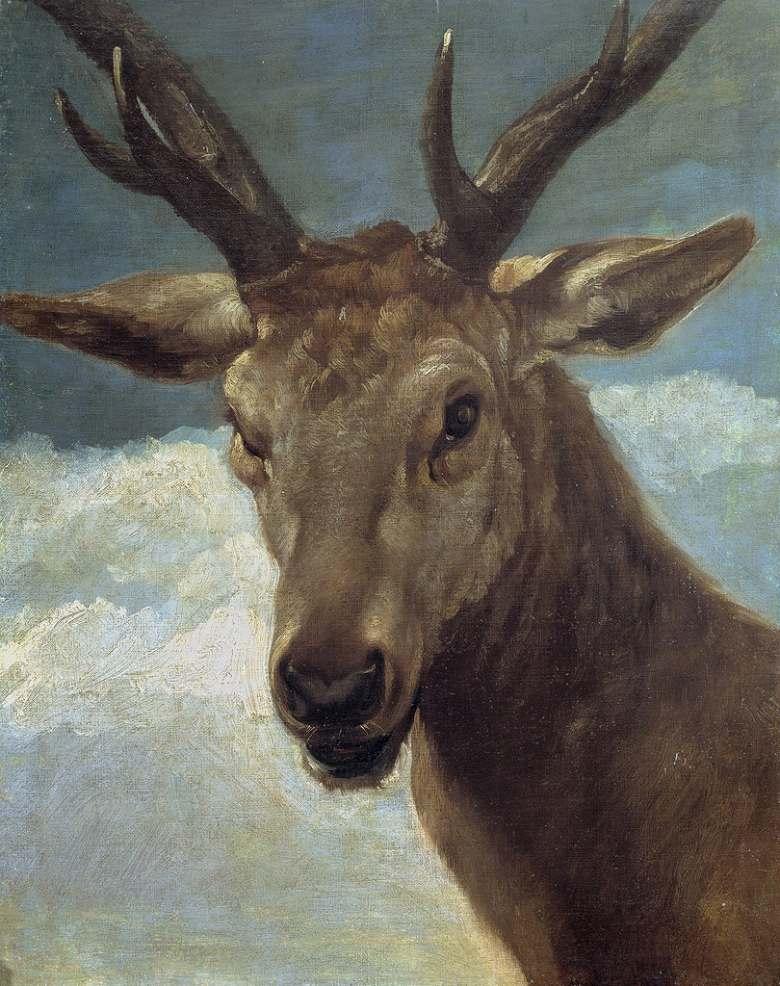 油絵 油彩画 絵画 複製画 ディエゴ・ベラスケス 鹿の頭部 F10サイズ F10号 530x455mm すぐに飾れる豪華額縁付きキャンバス