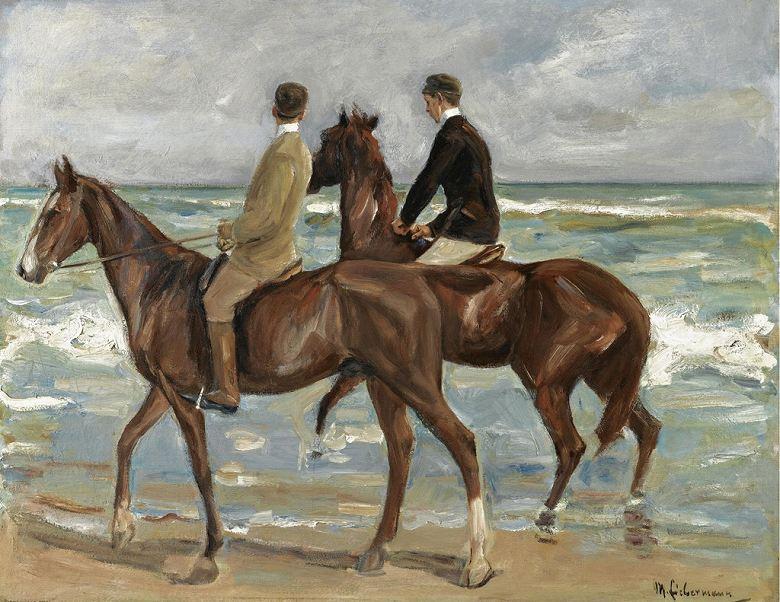 マックス・リーバーマン 砂浜での乗馬 F30サイズ F30号 910x727mm 絵画 インテリア 額入り 壁掛け複製油絵 マックス・リーバーマン