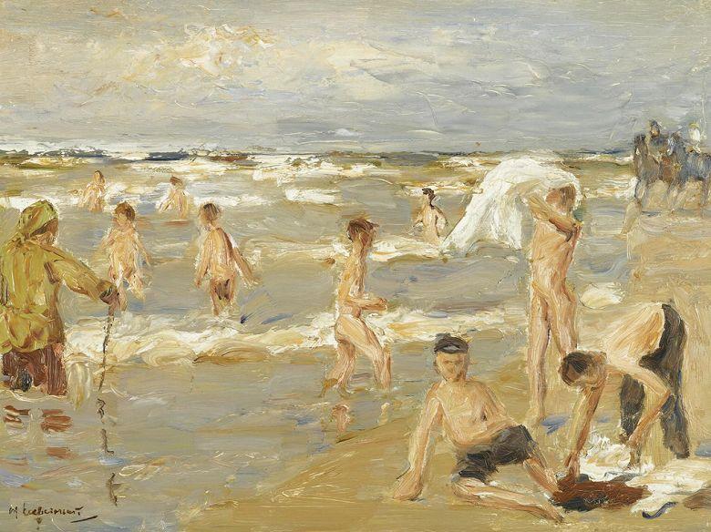 絵画 インテリア 額入り 壁掛け複製油絵 マックス・リーバーマン 海水浴の少年たち P20サイズ P20号 727x530mm 絵画 インテリア 額入り 壁掛け 油絵