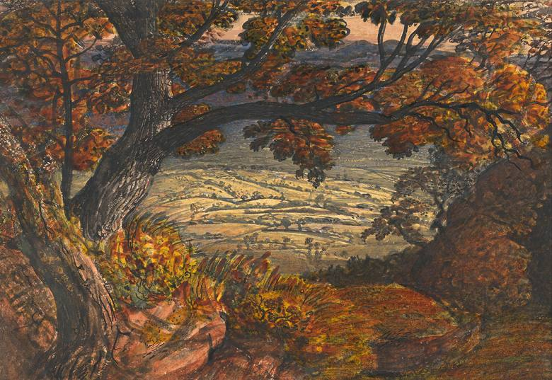 油絵 油彩画 絵画 複製画 サミュエル・パーマー ケント州ウィールド P10サイズ P10号 530x410mm すぐに飾れる豪華額縁付きキャンバス