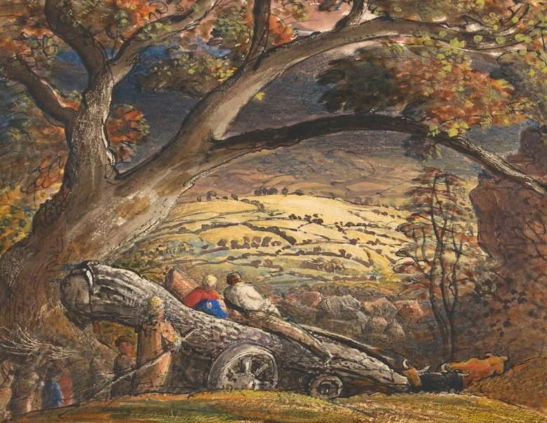 油絵 油彩画 絵画 複製画 サミュエル・パーマー 木材を運ぶ荷車 F10サイズ F10号 530x455mm すぐに飾れる豪華額縁付きキャンバス