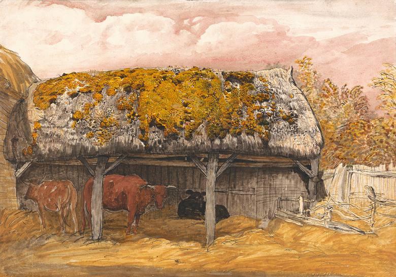 絵画 インテリア 額入り 壁掛け複製油絵サミュエル・パーマー 苔の生えた屋根の牛舎 P15サイズ P15号 652x500mm 油彩画 複製画 選べる額縁 選べるサイズ