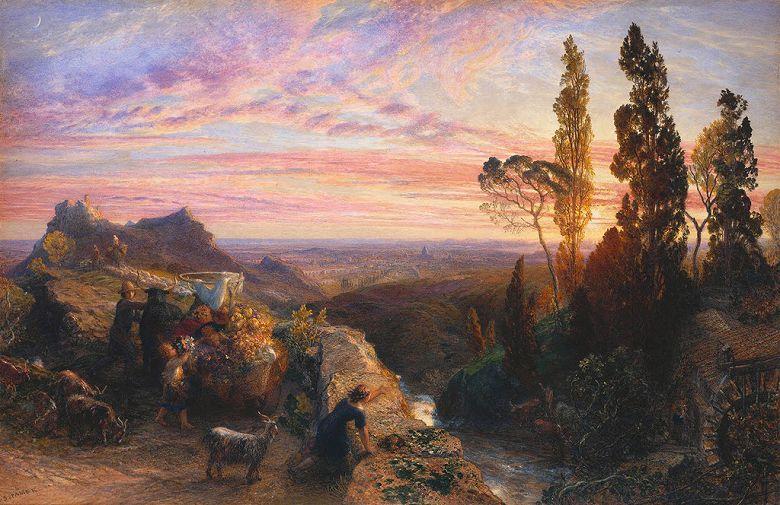 絵画 インテリア 額入り 壁掛け複製油絵サミュエル・パーマー アペニン山脈での夢 M20サイズ M20号 727x500mm 絵画 インテリア 額入り 壁掛け 油絵
