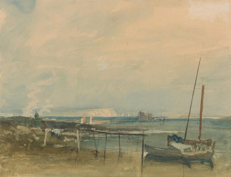 ジョゼフ・マロード・ウィリアム・ターナー 白い崖とボートのある海岸風景 F30サイズ F30号 910x727mm 送料無料  額縁付絵画 インテリア 額入り 壁掛け複製油絵ジョゼフ・マロード・ウィリアム・ターナー