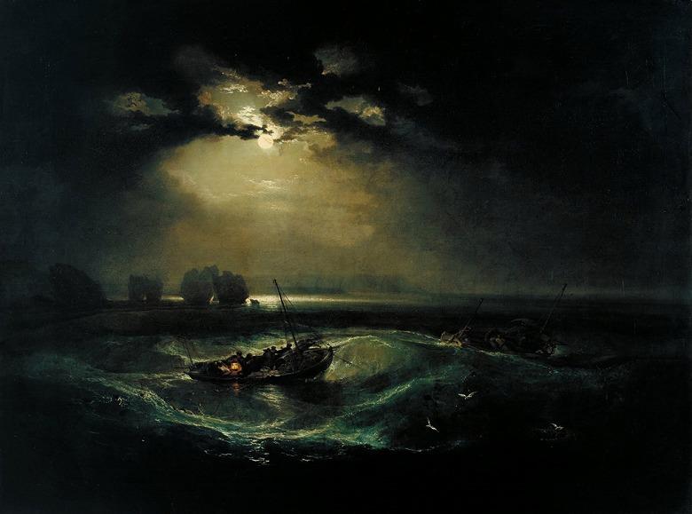 絵画 インテリア 額入り 壁掛け複製油絵ジョゼフ・マロード・ウィリアム・ターナー 海の上の漁師 P15サイズ P15号 652x500mm 油彩画 複製画 選べる額縁 選べるサイズ