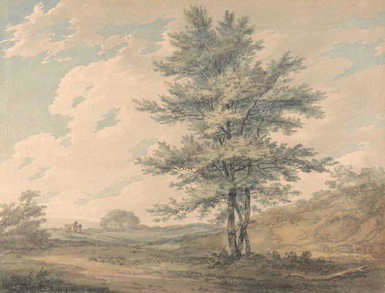 油絵 油彩画 絵画 複製画 ジョゼフ・マロード・ウィリアム・ターナー 木と人物のいる風景 F10サイズ F10号 530x455mm すぐに飾れる豪華額縁付きキャンバス