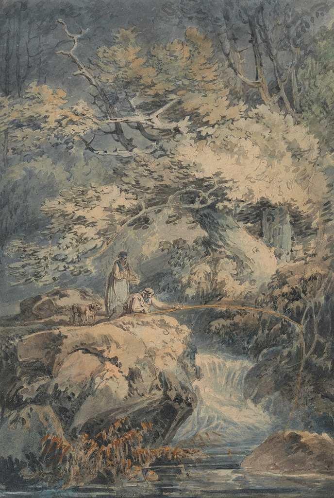 油絵 油彩画 絵画 複製画 ジョゼフ・マロード・ウィリアム・ターナー 釣り人 P10サイズ P10号 530x410mm すぐに飾れる豪華額縁付きキャンバス