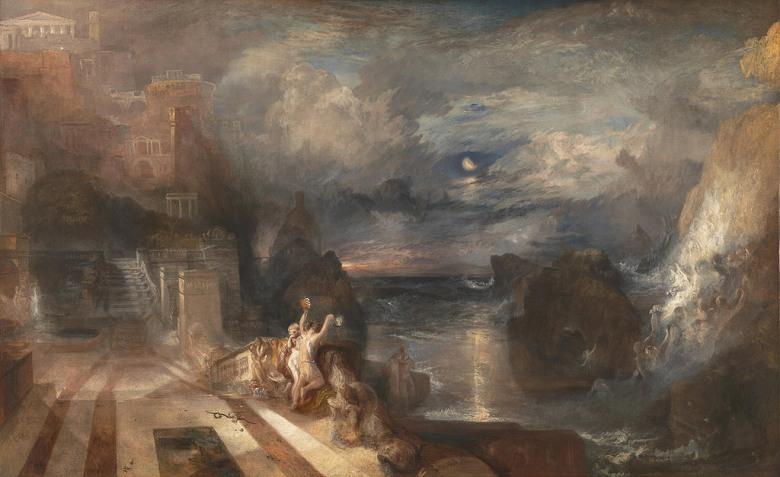 油絵 油彩画 絵画 複製画 ジョゼフ・マロード・ウィリアム・ターナー ヒーローとリアンダーの別れ M10サイズ M10号 530x333mm すぐに飾れる豪華額縁付きキャンバス