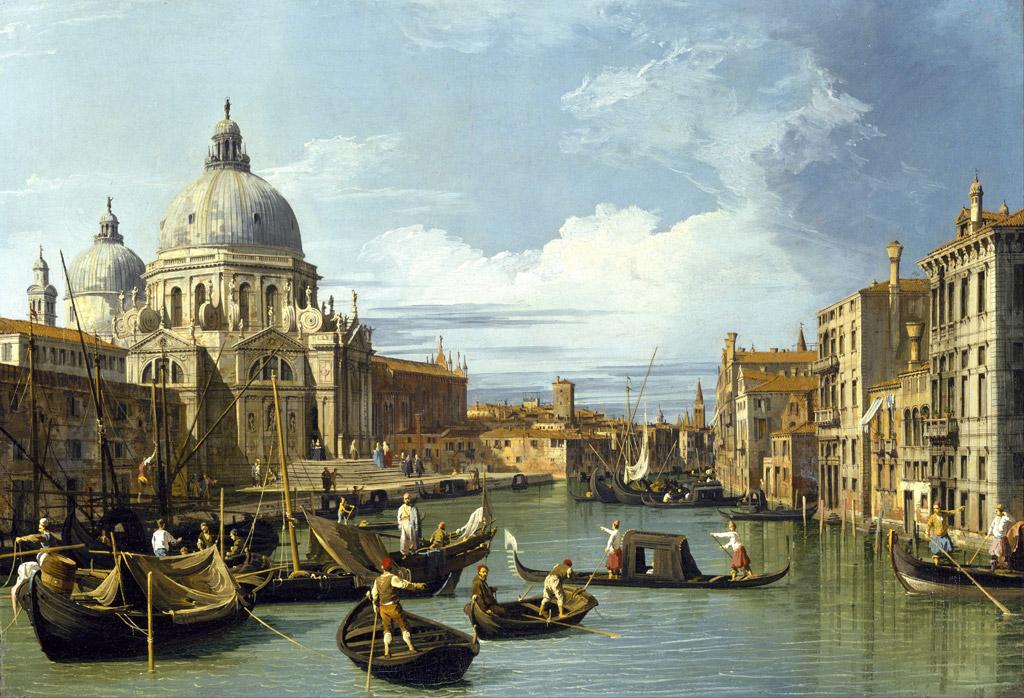 【送料無料】絵画 油彩画複製油絵複製画/カナレット ヴェネツィアの大運河の入り口 F15サイズ 808x686mm 【すぐに飾れる豪華額縁付 キャンバス】