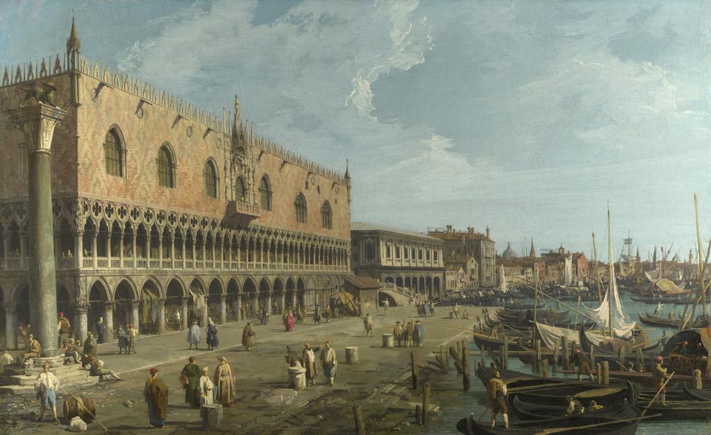 【条件付き送料無料】絵画 油彩画複製油絵複製画/カナレット ヴェネツィア、ドゥカーレ宮殿とスキアヴォーニ河岸 F30サイズ 1066x883mm 【すぐに飾れる豪華額縁付 キャンバス】