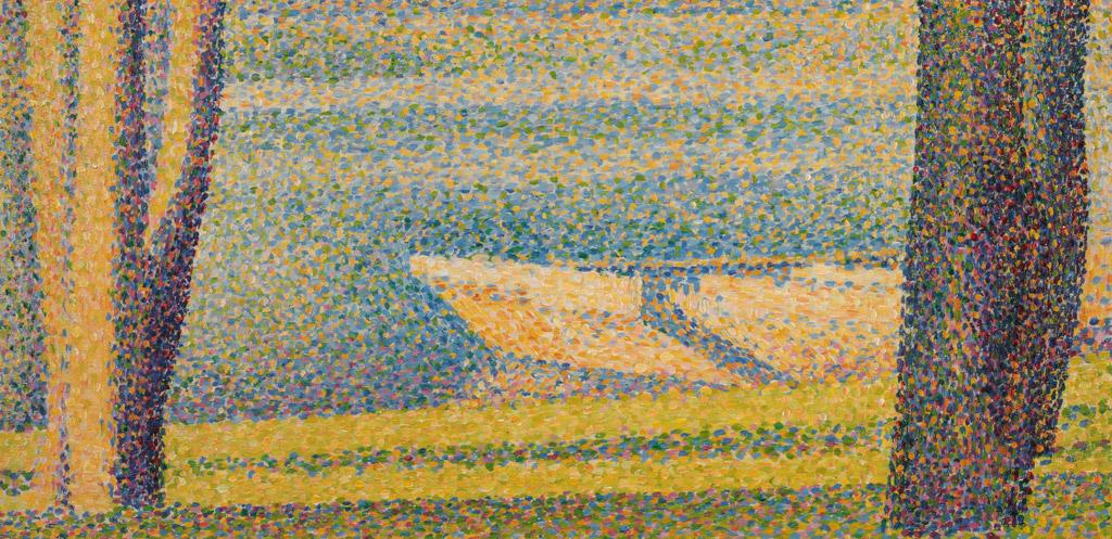 【送料無料】絵画 油彩画複製油絵複製画/ジョルジュ・スーラ 舫い船と木々 F15サイズ 808x686mm 【すぐに飾れる豪華額縁付 キャンバス】