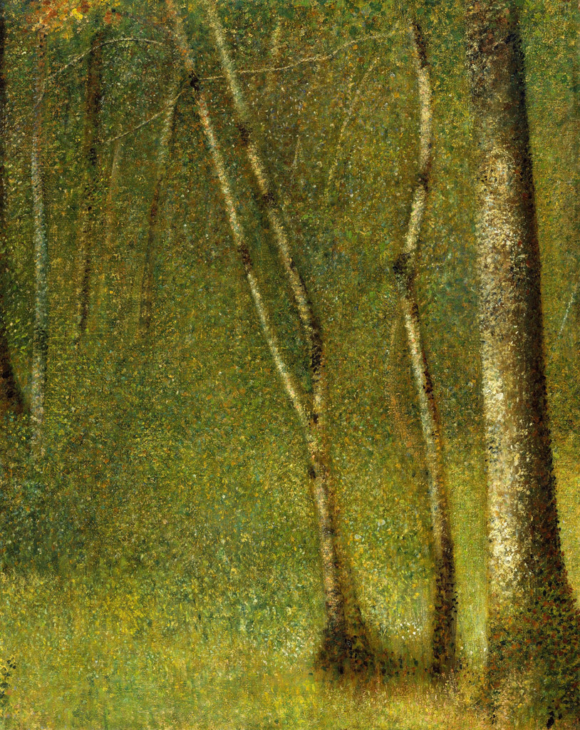 【条件付き送料無料】絵画 油彩画複製油絵複製画/ジョルジュ・スーラ ブルゴーニュ地域圏の森林 F30サイズ 1066x883mm 【条件付き送料無料  額縁付 キャンバス】
