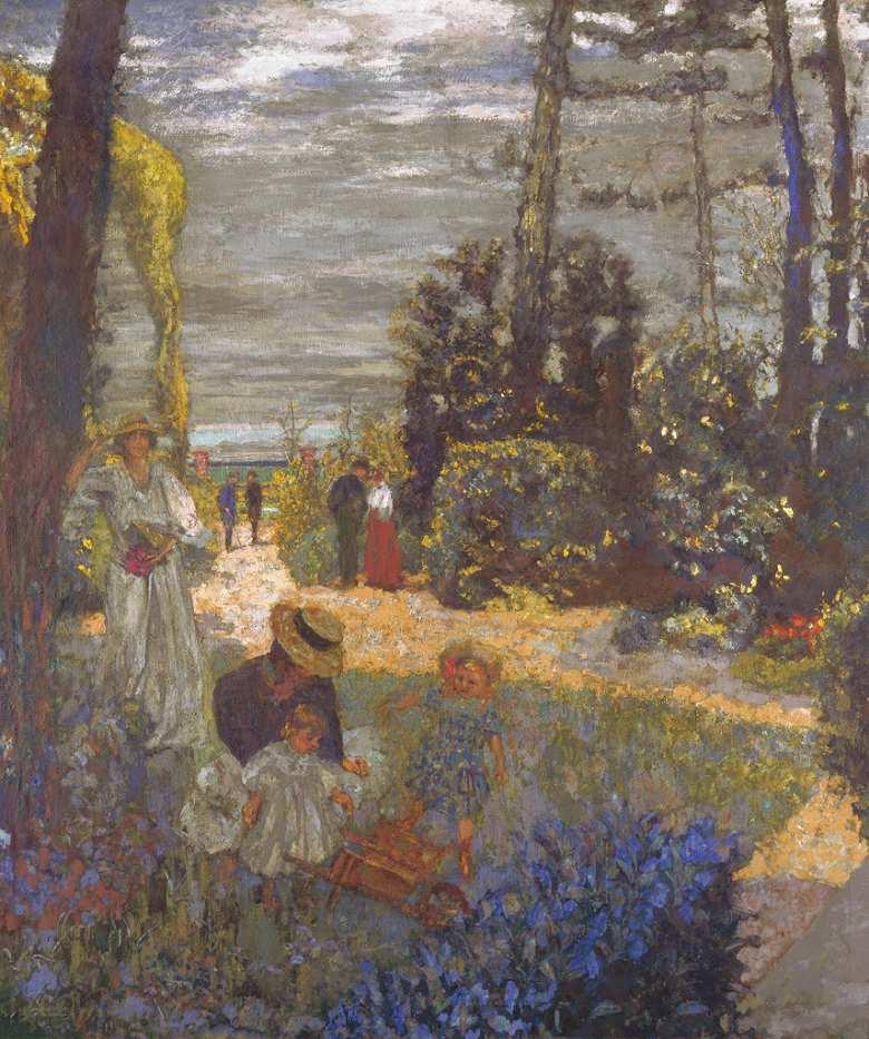 油絵 油彩画 絵画 複製画 エドゥアール・ヴュイヤール 庭 F10サイズ F10号 530x455mm すぐに飾れる豪華額縁付きキャンバス