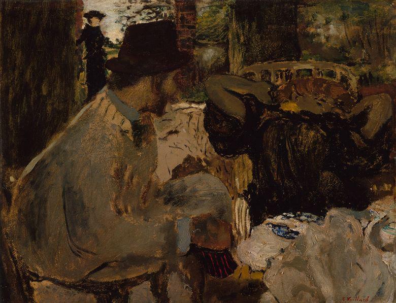 油絵 油彩画 絵画 複製画 エドゥアール・ヴュイヤール 会話 F10サイズ F10号 530x455mm すぐに飾れる豪華額縁付きキャンバス