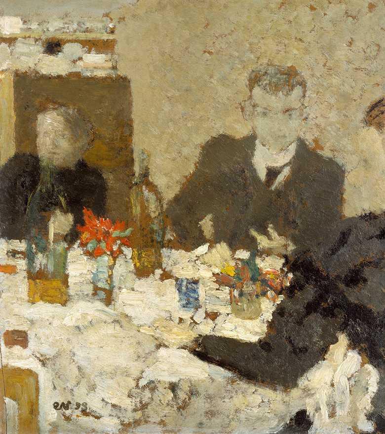 絵画 インテリア 額入り 壁掛け複製油絵エドゥアール・ヴュイヤール テーブルにて F15サイズ F15号 652x530mm 油彩画 複製画 選べる額縁 選べるサイズ