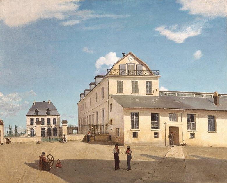 油絵 油彩画 絵画 複製画 ジャン=バティスト・カミーユ・コロー 工場と家 F10サイズ F10号 530x455mm すぐに飾れる豪華額縁付きキャンバス