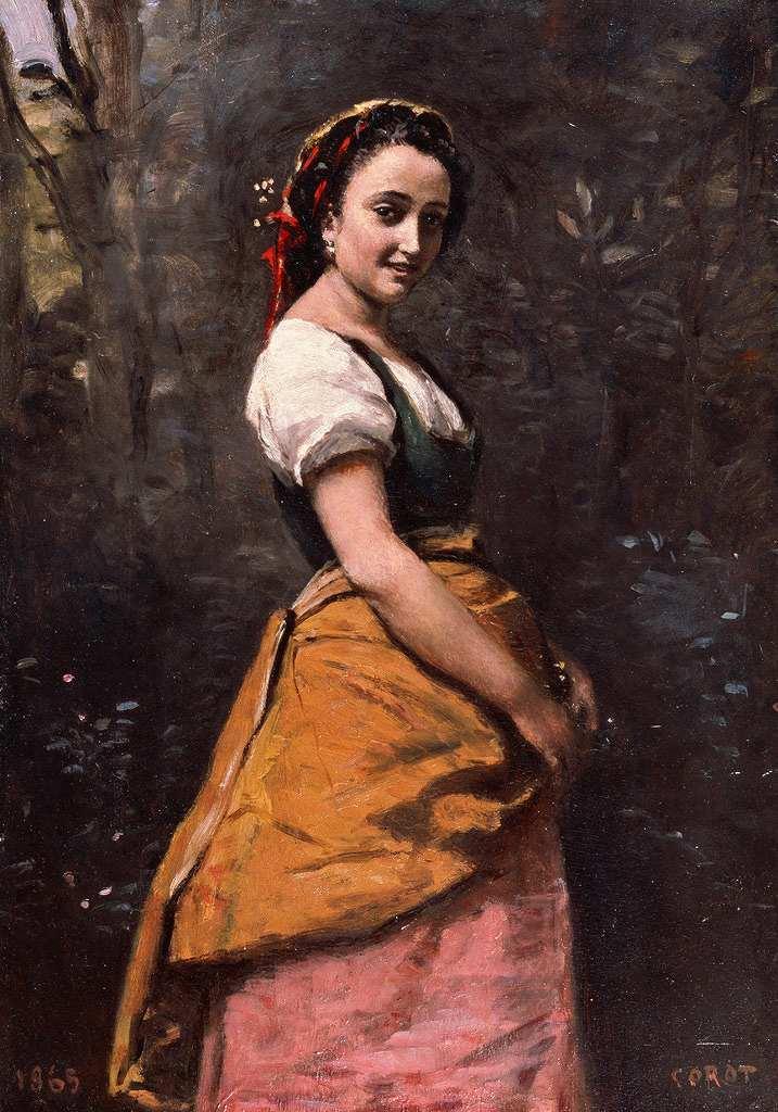 油絵 油彩画 絵画 複製画 ジャン=バティスト・カミーユ・コロー 森の中の若い女 P10サイズ P10号 530x410mm すぐに飾れる豪華額縁付きキャンバス