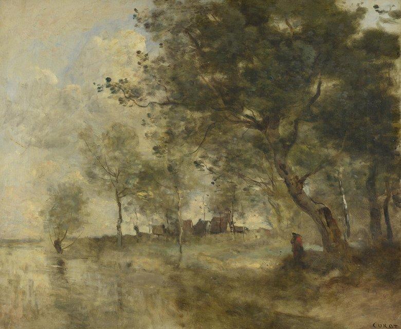 油絵 油彩画 絵画 複製画 ジャン=バティスト・カミーユ・コロー 洪水 F10サイズ F10号 530x455mm すぐに飾れる豪華額縁付きキャンバス