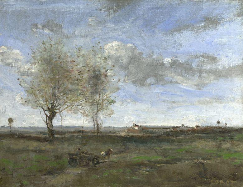 油絵 油彩画 絵画 複製画 ジャン=バティスト・カミーユ・コロー アルトワの平原を走る荷馬車 F10サイズ F10号 530x455mm すぐに飾れる豪華額縁付きキャンバス