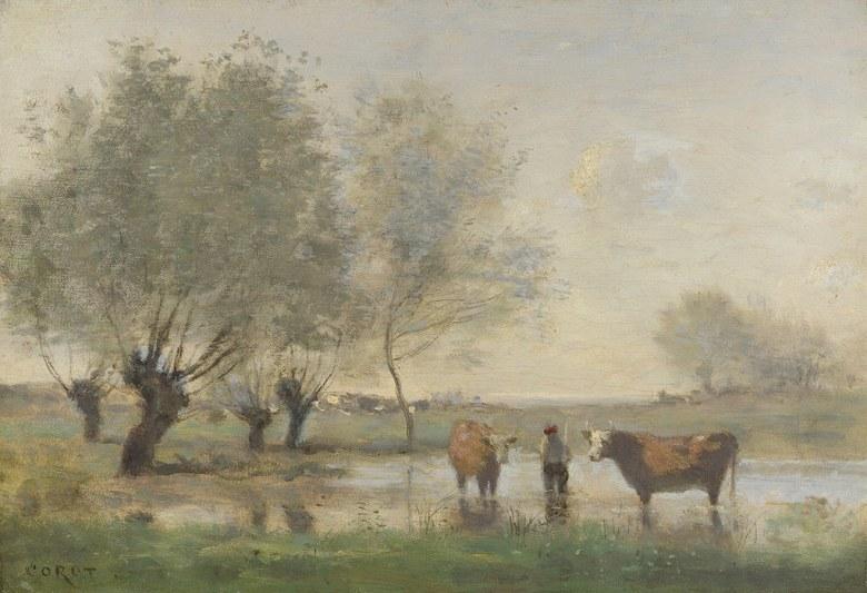 絵画 インテリア 額入り 壁掛け複製油絵ジャン=バティスト・カミーユ・コロー 沼地の牛のいる風景 P15サイズ P15号 652x500mm 油彩画 複製画 選べる額縁 選べるサイズ