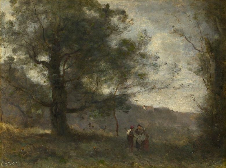 油絵 油彩画 絵画 複製画 ジャン=バティスト・カミーユ・コロー 渓谷のオークの木 P10サイズ P10号 530x410mm すぐに飾れる豪華額縁付きキャンバス