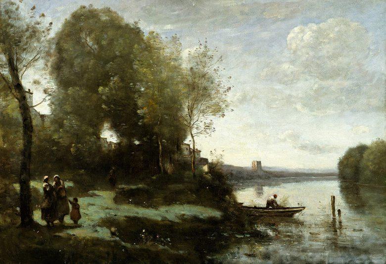 油絵 油彩画 絵画 複製画 ジャン=バティスト・カミーユ・コロー 遠方の塔と川 P10サイズ P10号 530x410mm すぐに飾れる豪華額縁付きキャンバス