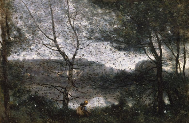 油絵 油彩画 絵画 複製画 ジャン=バティスト・カミーユ・コロー ヴィル=ダヴレー M10サイズ M10号 530x333mm すぐに飾れる豪華額縁付きキャンバス