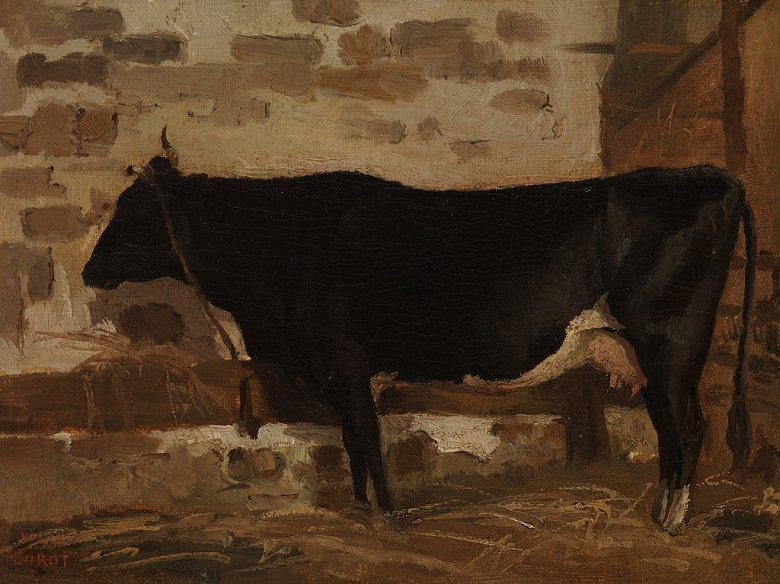絵画 インテリア 額入り 壁掛け複製油絵ジャン=バティスト・カミーユ・コロー 牛舎の牛 P20サイズ P20号 727x530mm 絵画 インテリア 額入り 壁掛け 油絵