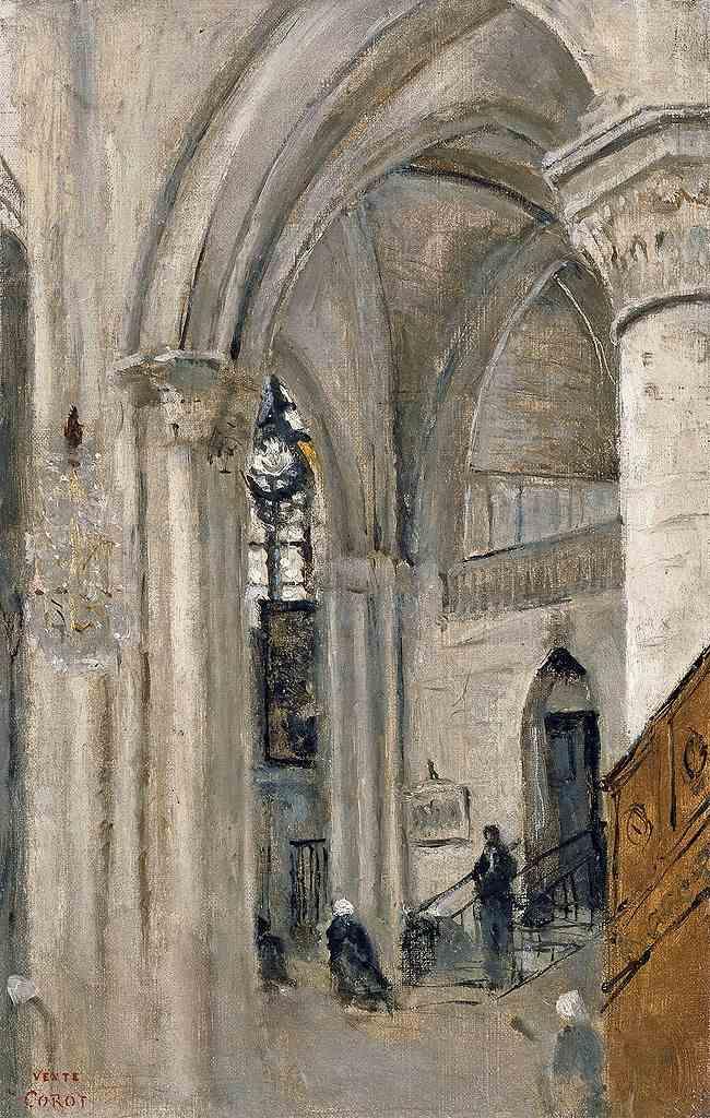 絵画 インテリア 額入り 壁掛け複製油絵ジャン=バティスト・カミーユ・コロー マントの教会の内部 M20サイズ M20号 727x500mm 絵画 インテリア 額入り 壁掛け 油絵