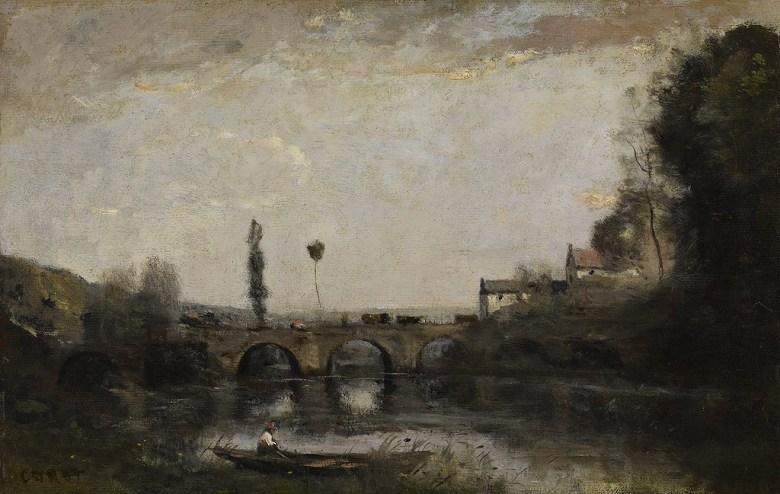 油絵 油彩画 絵画 複製画 ジャン=バティスト・カミーユ・コロー 橋のある風景 M10サイズ M10号 530x333mm すぐに飾れる豪華額縁付きキャンバス