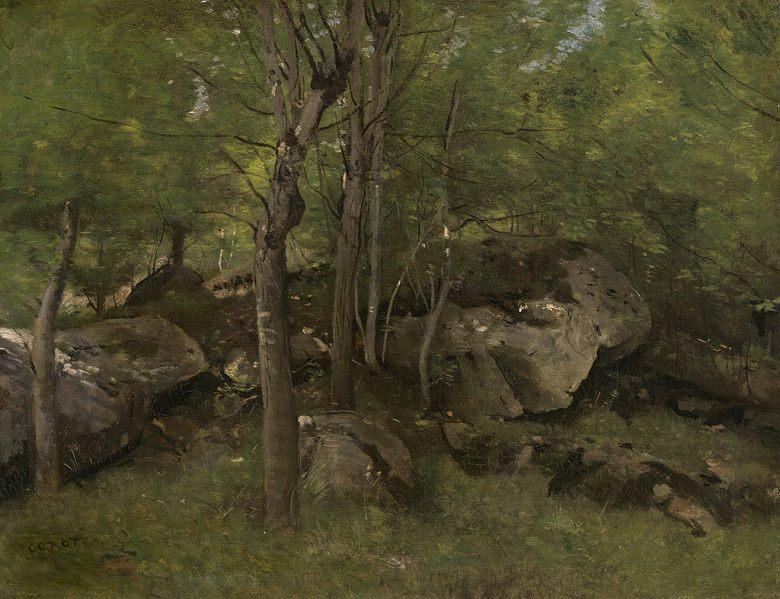 油絵 ジャン=バティスト・カミーユ・コロー フォンテーヌブローの森の岩 F12サイズ F12号 606x500mm 油彩画 絵画 複製画 選べる額縁 選べるサイズ