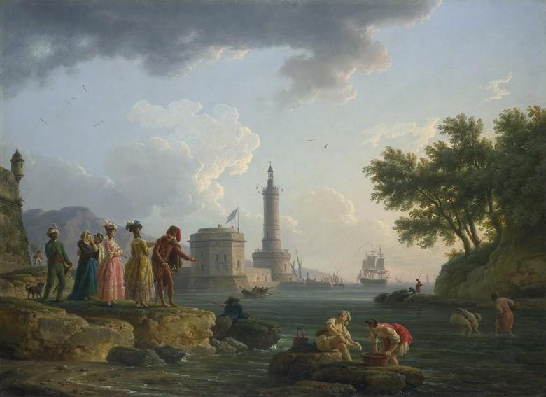 油絵 油彩画 絵画 複製画 クロード・ジョセフ・ヴェルネ 海岸 P10サイズ P10号 530x410mm すぐに飾れる豪華額縁付きキャンバス