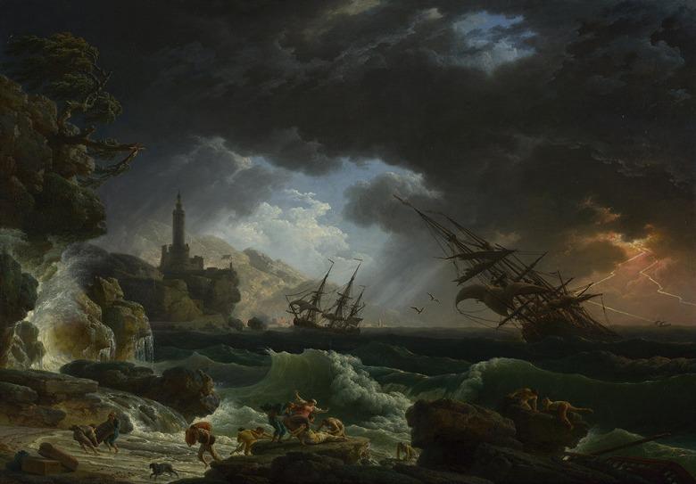 絵画 インテリア 額入り 壁掛け複製油絵クロード・ジョセフ・ヴェルネ 嵐の海の難破船 P20サイズ P20号 727x530mm 絵画 インテリア 額入り 壁掛け 油絵