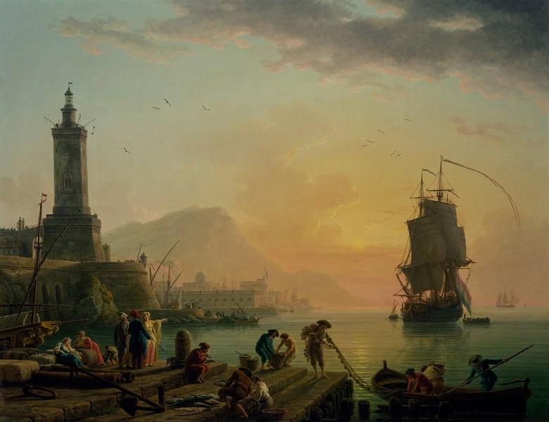 絵画 インテリア 額入り 壁掛け複製油絵クロード・ジョセフ・ヴェルネ 地中海の港の静けさ F15サイズ F15号 652x530mm 油彩画 複製画 選べる額縁 選べるサイズ
