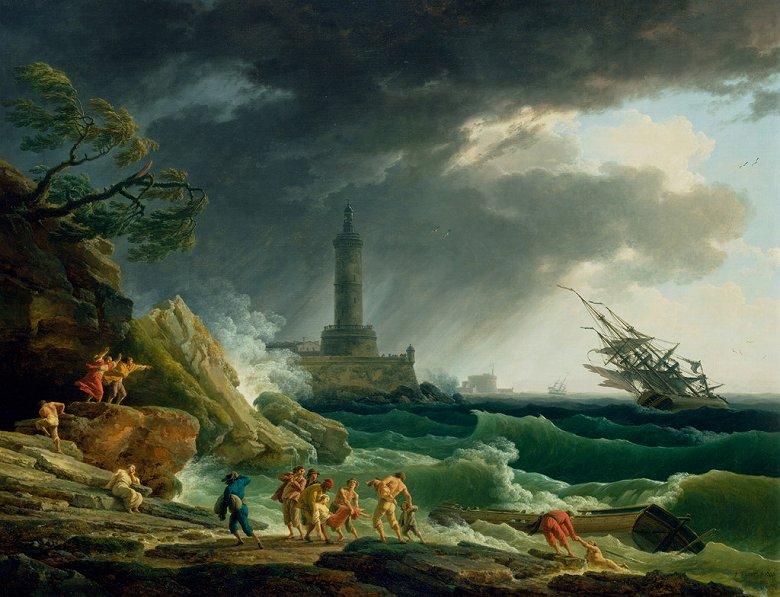 絵画 インテリア 額入り 壁掛け複製油絵クロード・ジョセフ・ヴェルネ 地中海沿岸の嵐 F20サイズ F20号 727x606mm 絵画 インテリア 額入り 壁掛け 油絵