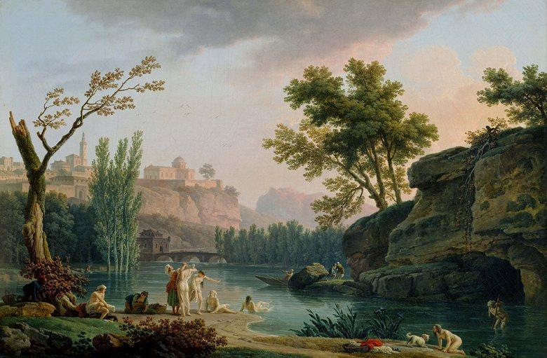 油絵 油彩画 絵画 複製画 クロード・ジョセフ・ヴェルネ 夏の夕べ、イタリア風景 M10サイズ M10号 530x333mm すぐに飾れる豪華額縁付きキャンバス